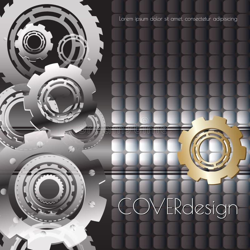 Διανυσματικό τετραγωνικό σχέδιο κάλυψης με μαύρα, άσπρα και χρυσά cogwheels ελεύθερη απεικόνιση δικαιώματος