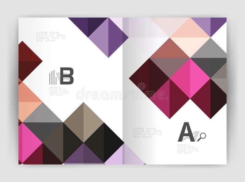 Διανυσματικό τετραγωνικό minimalistic αφηρημένο υπόβαθρο, επιχειρησιακό φυλλάδιο προτύπων τυπωμένων υλών a4 απεικόνιση αποθεμάτων