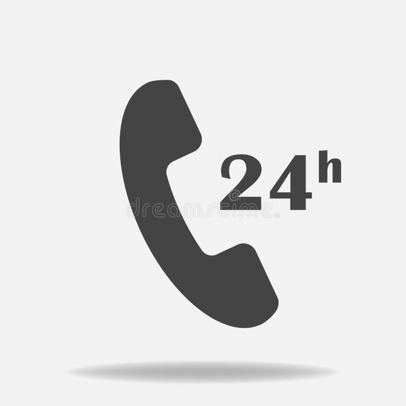 Διανυσματικό τηλεφωνικό εικονίδιο Υποστήριξη 24 ώρες την ημέρα κύκλος ρολογιών Laye διανυσματική απεικόνιση