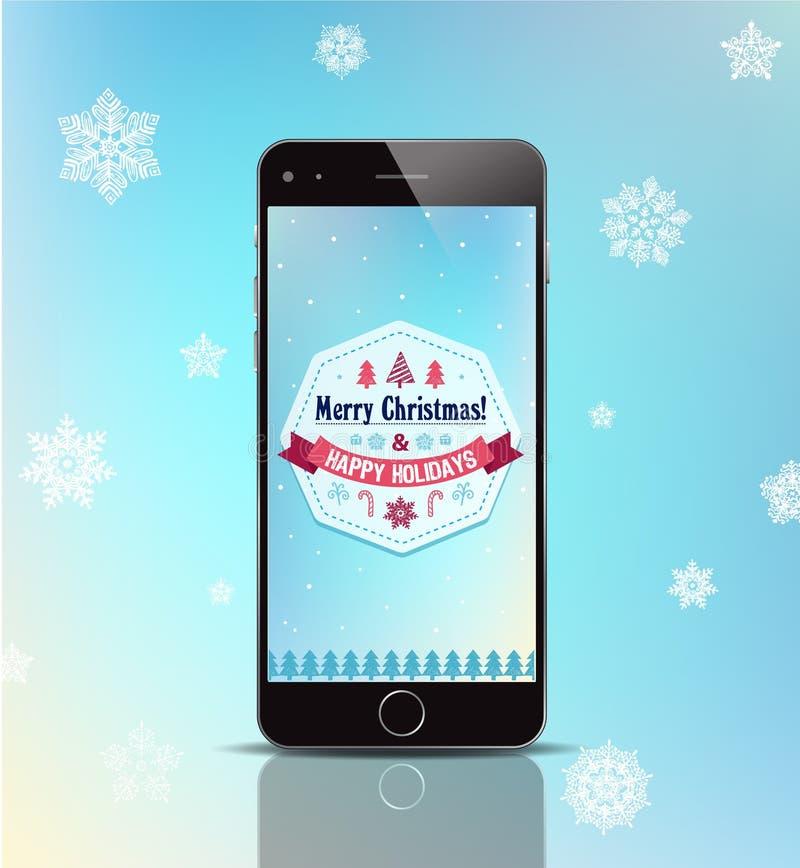 Διανυσματικό τηλέφωνο δώρων Χριστουγέννων, αφίσα, κάρτα με ελεύθερη απεικόνιση δικαιώματος