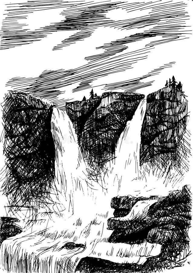 Διανυσματικό τοπίο βουνών με τον καταρράκτη με την εκκόλαψη eps, εθνικό διανυσματική απεικόνιση
