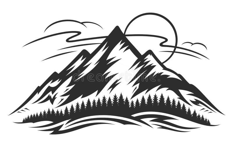 Διανυσματικό τοπίο βουνών ελεύθερη απεικόνιση δικαιώματος