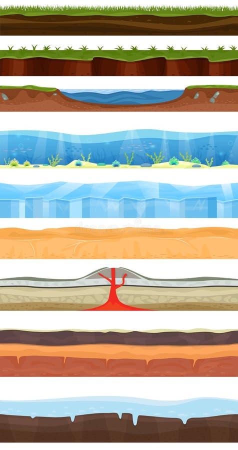 Διανυσματικό τοπίο κινούμενων σχεδίων υποβάθρου παιχνιδιών στο σύνολο απεικόνισης σκηνικού gamification διεπαφών θερινού χειμώνα  ελεύθερη απεικόνιση δικαιώματος