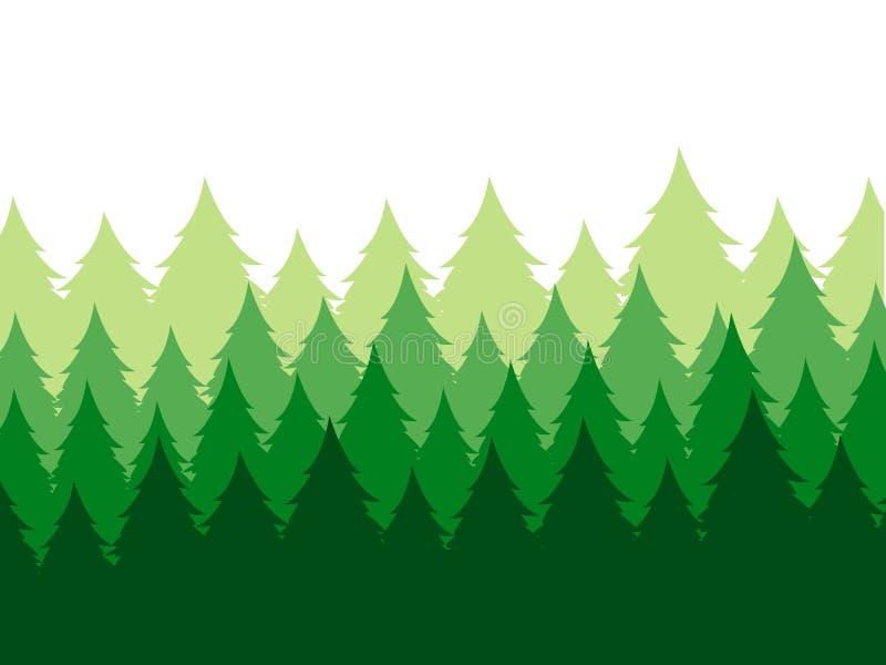 Διανυσματικό τοπίο με τις σκιαγραφίες των πράσινων κωνοφόρων δέντρων στην υδρονέφωση διανυσματική απεικόνιση