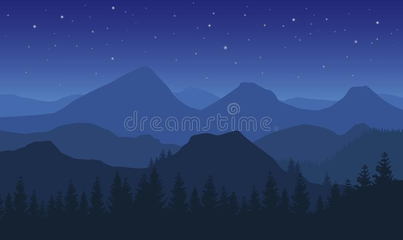 Διανυσματικό τοπίο νύχτας με τα μπλε misty δασικά βουνά και τα αστέρια στο σκοτεινό ουρανό απεικόνιση αποθεμάτων