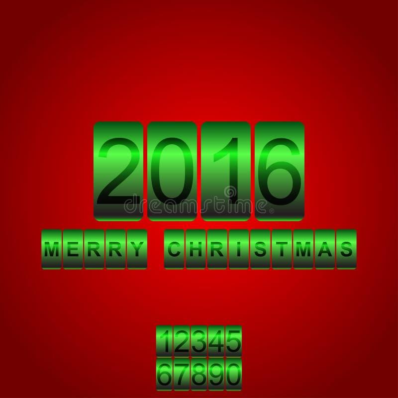 Διανυσματικό του 2016 νέο οδόμετρο πράσινων καρτών έτους κόκκινο ελεύθερη απεικόνιση δικαιώματος