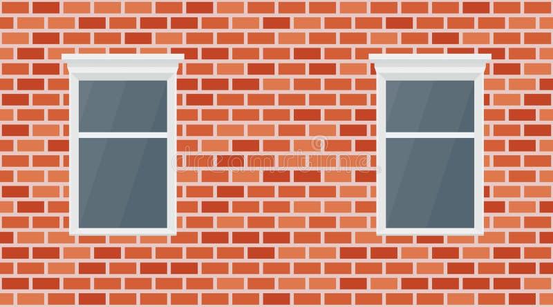 Διανυσματικό τούβλινο υπόβαθρο τοίχων Παλαιά αστική τεκτονική σύστασης Εκλεκτής ποιότητας ταπετσαρία και παράθυρο φραγμών αρχιτεκ ελεύθερη απεικόνιση δικαιώματος