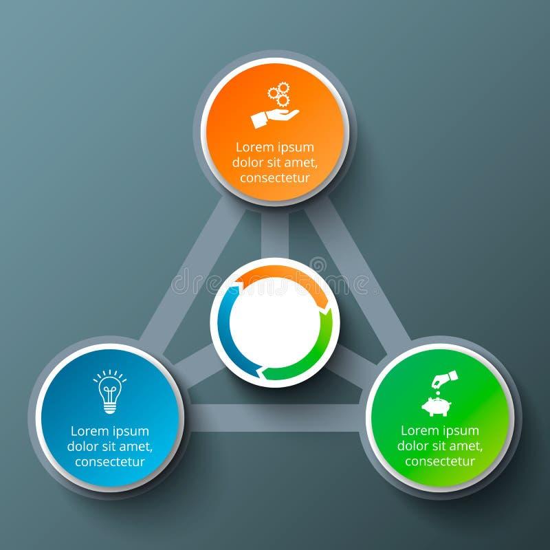 Διανυσματικό τρίγωνο με τους κύκλους για infographic διανυσματική απεικόνιση
