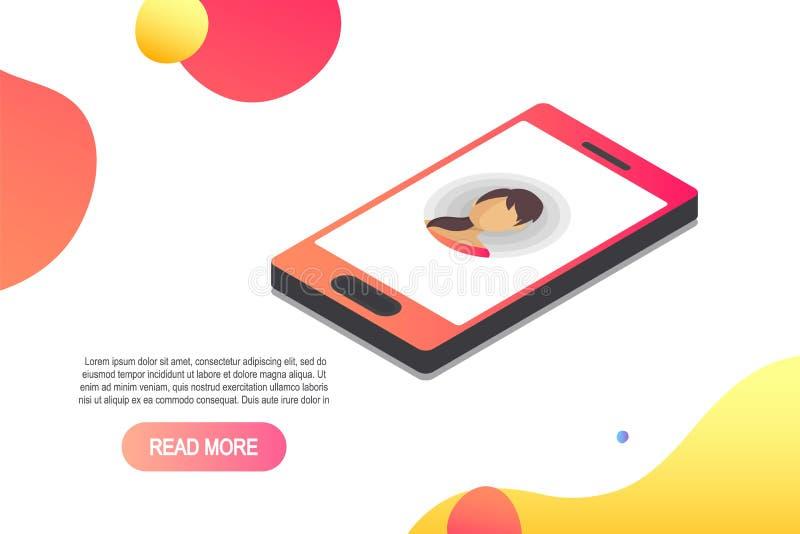 Διανυσματικό τρισδιάστατο isometric εικονίδιο smartphone Isometric έννοια με το smartphone και την εισερχόμενη κλήση διανυσματική απεικόνιση