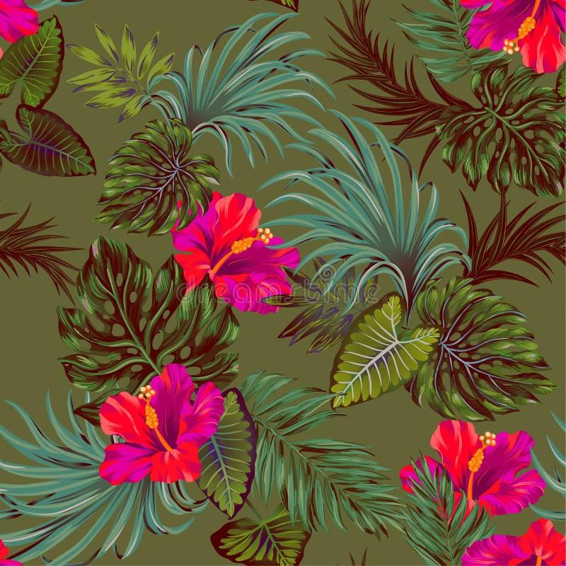 Διανυσματικό τροπικό σχέδιο με το λουλούδι φοινικών και hibiscus ελεύθερη απεικόνιση δικαιώματος