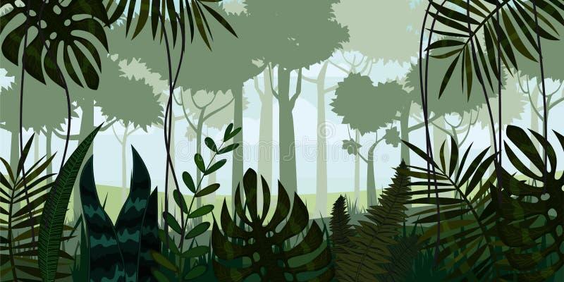 Διανυσματικό τροπικό υπόβαθρο τοπίων ζουγκλών τροπικών δασών με τα φύλλα, φτέρη, απεικονίσεις στοκ εικόνα με δικαίωμα ελεύθερης χρήσης