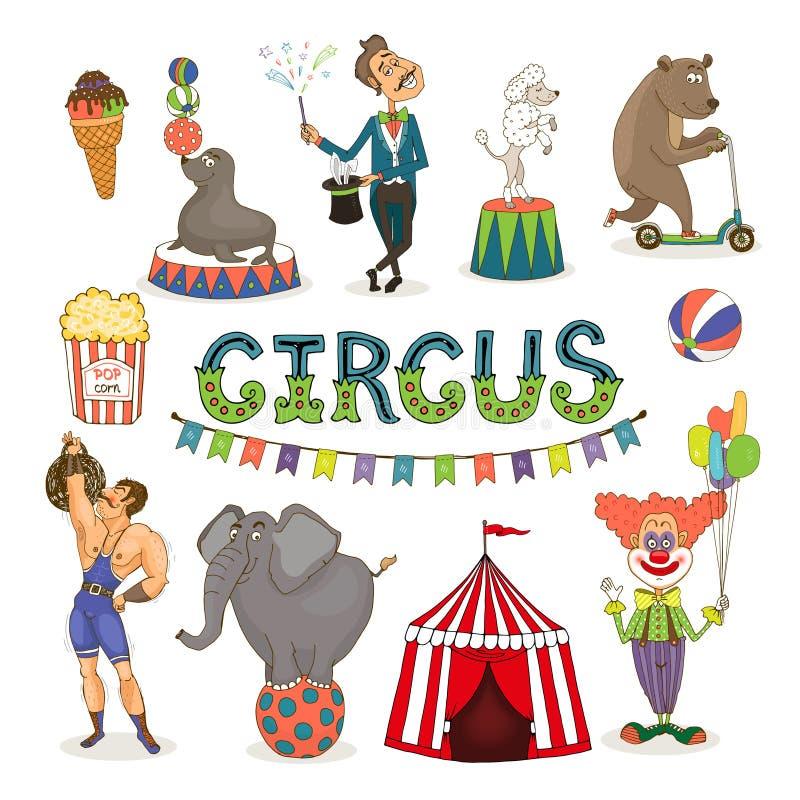 Διανυσματικό τσίρκο funfair και σύνολο εικονιδίων εκθεσιακών χώρων απεικόνιση αποθεμάτων