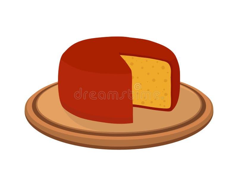 Διανυσματικό τυρί γκούντα στο πιάτο Φέτα, χοντρό κομμάτι στον ξύλινο δίσκο Επίπεδο ύφος κινούμενων σχεδίων διανυσματική απεικόνιση