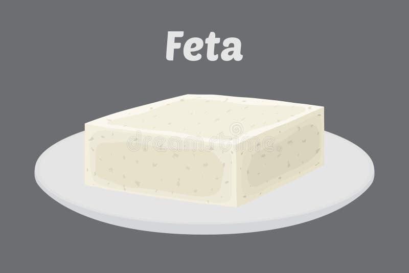 Διανυσματικό τυρί φέτας στο πιάτο Φέτα, χοντρό κομμάτι στο δίσκο πορσελάνης Επίπεδο ύφος κινούμενων σχεδίων ελεύθερη απεικόνιση δικαιώματος