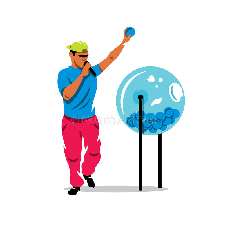 Διανυσματικό τύμπανο ατόμων και λαχειοφόρων αγορών με τις σφαίρες bingo cartoon commander gun his illustration soldier stopwatch ελεύθερη απεικόνιση δικαιώματος