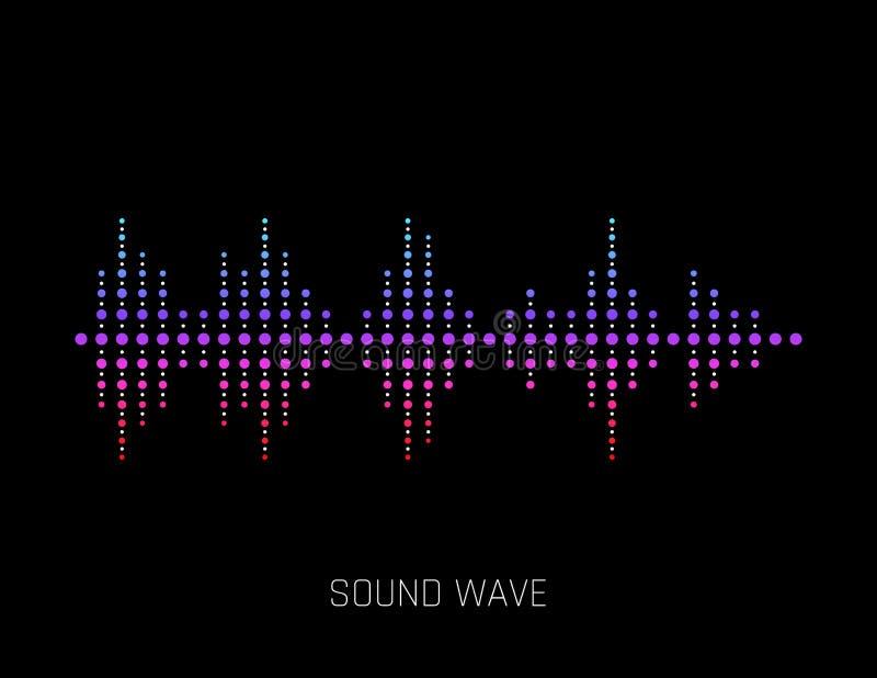 Διανυσματικό υγιές κύμα Ζωηρόχρωμα υγιή κύματα για το κόμμα, DJ, μπαρ, λέσχες, discos Ακουστική τεχνολογία εξισωτών διάνυσμα διανυσματική απεικόνιση