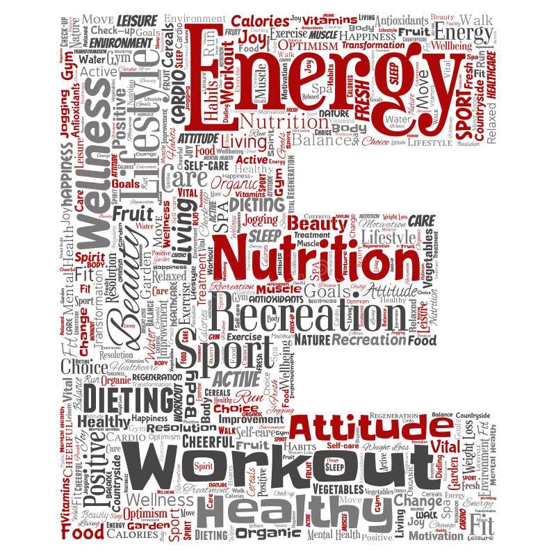Διανυσματικό υγιές σύννεφο υπόβαθρο λέξης πηγών αθλητικών επιστολών διατροφής διαβίωσης θετικό απομονωμένο Κολάζ της προσοχής ευτ διανυσματική απεικόνιση