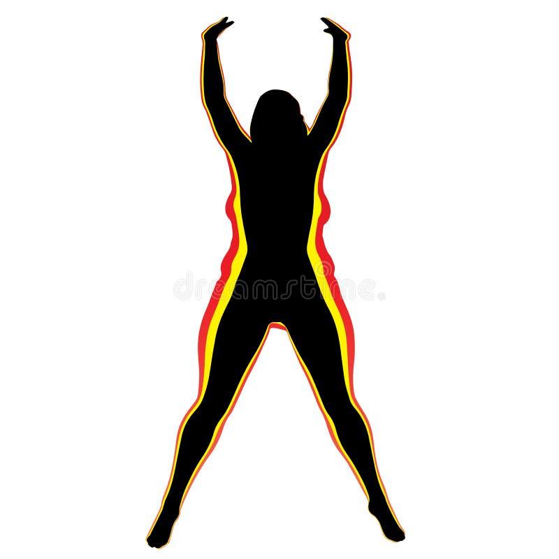Διανυσματικό υπέρβαρο παχύσαρκο θηλυκό εναντίον του λεπτού κατάλληλου υγιούς σώματος ελεύθερη απεικόνιση δικαιώματος