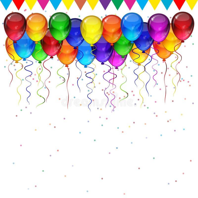 Διανυσματικό υπόβαθρο γιορτής γενεθλίων - ζωηρόχρωμα εορταστικά μπαλόνια, κομφετί, κορδέλλες που πετούν για την κάρτα εορτασμών α απεικόνιση αποθεμάτων