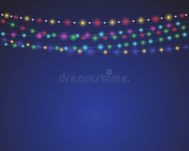 Διανυσματικό υπόβαθρο γιρλαντών διακοπών καρναβαλιού φωτισμού Χριστουγέννων ελεύθερη απεικόνιση δικαιώματος