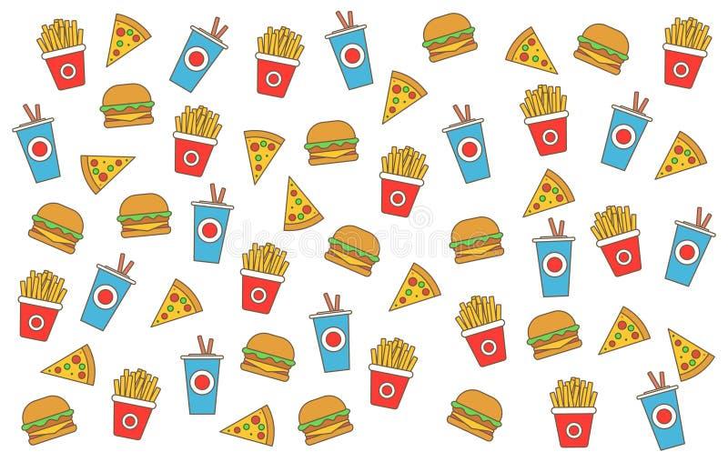Διανυσματικό υπόβαθρο γρήγορου φαγητού Γεύμα και εστιατόριο χάμπουργκερ γρήγορου φαγητού, νόστιμο καθορισμένο γρήγορο φαγητό πολύ απεικόνιση αποθεμάτων