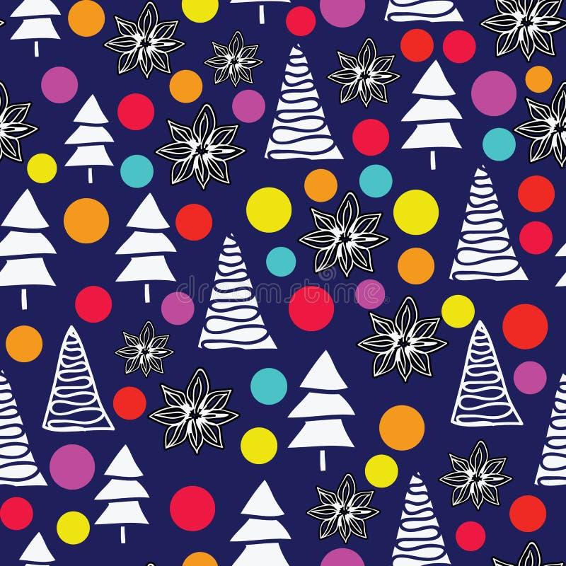 Διανυσματικό υπόβαθρο δέντρων Χαρούμενα Χριστούγεννας με τις σφαίρες και τα anis γυαλιού κρητιδογραφιών ελεύθερη απεικόνιση δικαιώματος