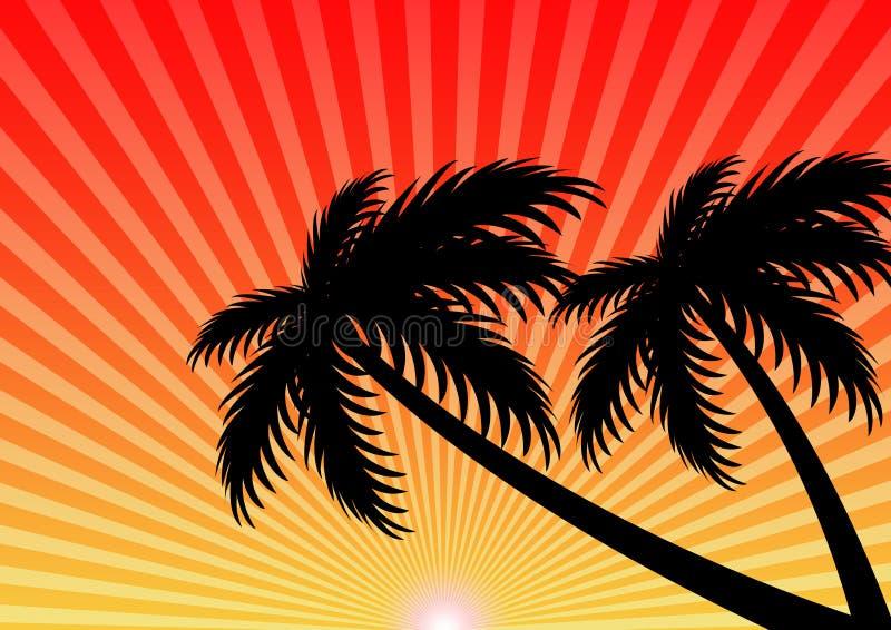 Διανυσματικό υπόβαθρο ηλιοβασιλέματος καλοκαιρινών διακοπών στοκ εικόνα με δικαίωμα ελεύθερης χρήσης