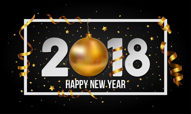 Διανυσματικό υπόβαθρο καλής χρονιάς του 2018 με το χρυσά μπιχλιμπίδι σφαιρών Χριστουγέννων και τα στοιχεία λωρίδων απεικόνιση αποθεμάτων