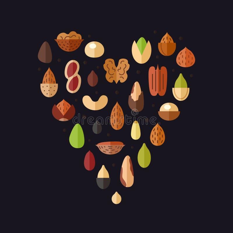 Διανυσματικό υπόβαθρο καρδιών καρυδιών και σπόρων Επίπεδο σχέδιο απεικόνιση αποθεμάτων