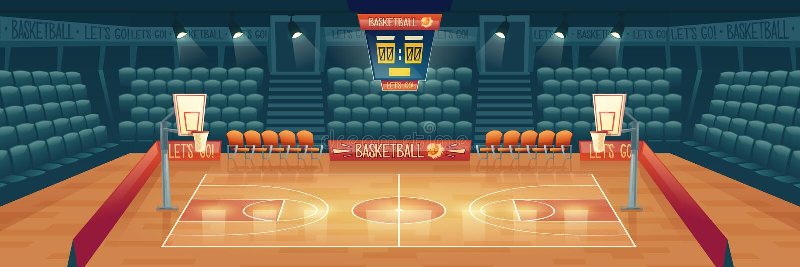 Διανυσματικό υπόβαθρο κινούμενων σχεδίων του κενού γήπεδο μπάσκετ διανυσματική απεικόνιση
