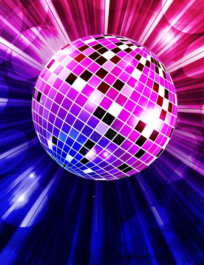 Διανυσματικό υπόβαθρο κομμάτων Disco με τις ακτίνες και τη σφαίρα disco απεικόνιση αποθεμάτων