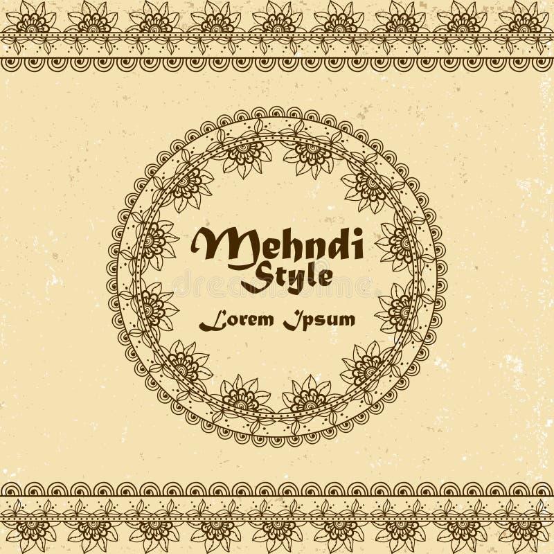 Διανυσματικό υπόβαθρο με συρμένα τα χέρι σύνορα και πλαίσιο στο ινδικό ύφος mehndi ελεύθερη απεικόνιση δικαιώματος