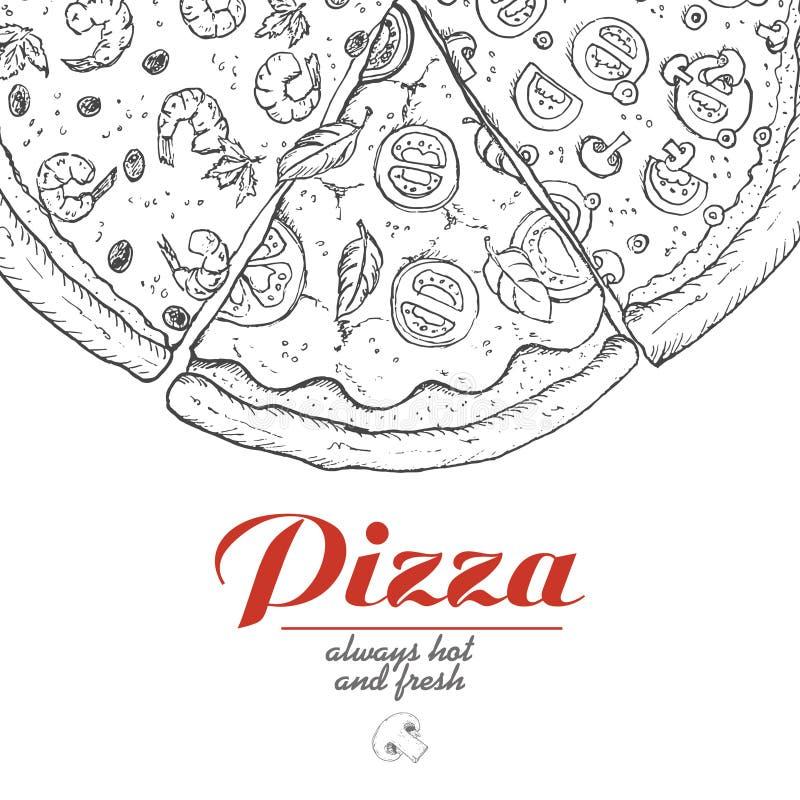 Διανυσματικό υπόβαθρο με τα κομμάτια της πίτσας ελεύθερη απεικόνιση δικαιώματος