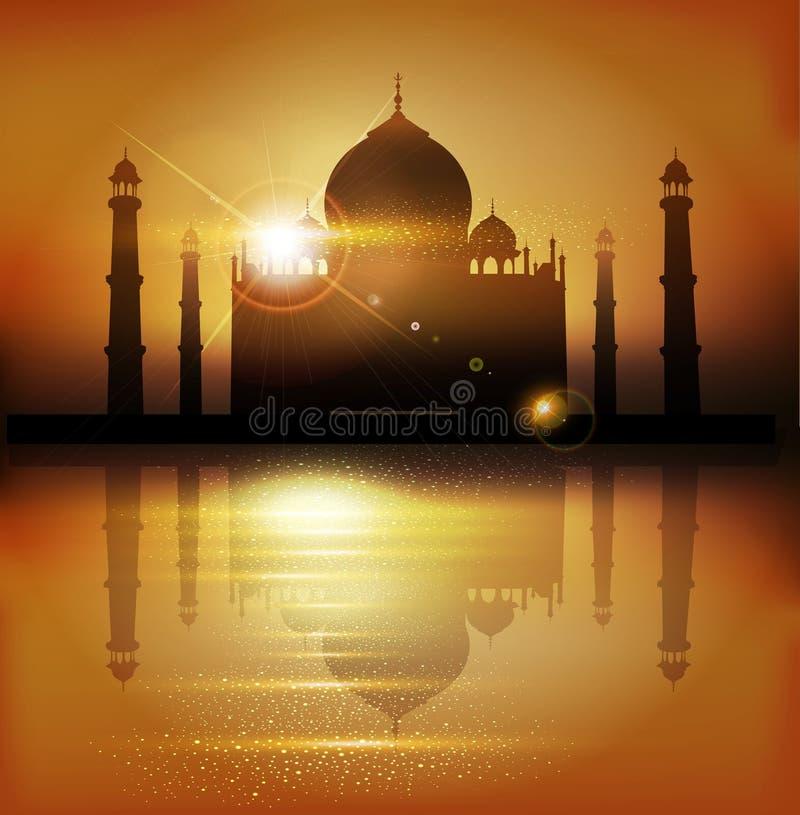 Διανυσματικό υπόβαθρο με τα μουσουλμανικά τεμένη και τους μιναρή στις διακοπές Mubar απεικόνιση αποθεμάτων