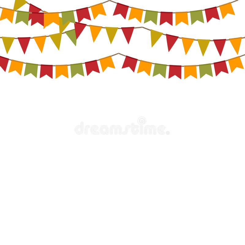 Διανυσματικό υπόβαθρο με τη γιρλάντα για τις διακοπές αποκριές φθινοπώρου ή την ημέρα των ευχαριστιών διανυσματική απεικόνιση