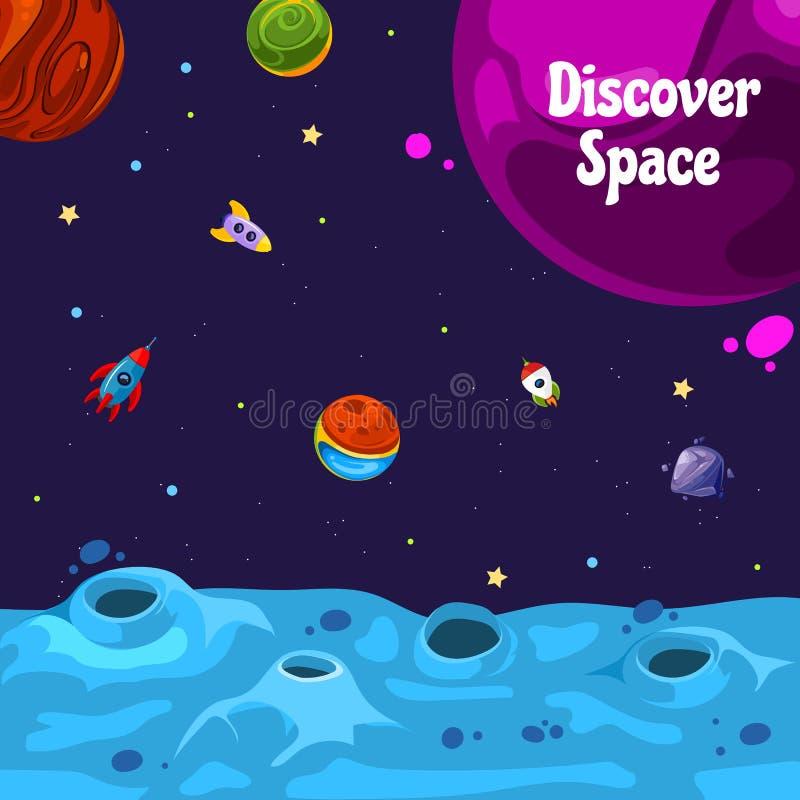 Διανυσματικό υπόβαθρο με τη θέση για το κείμενο με τους διαστημικούς πλανήτες και τα σκάφη κινούμενων σχεδίων διανυσματική απεικόνιση