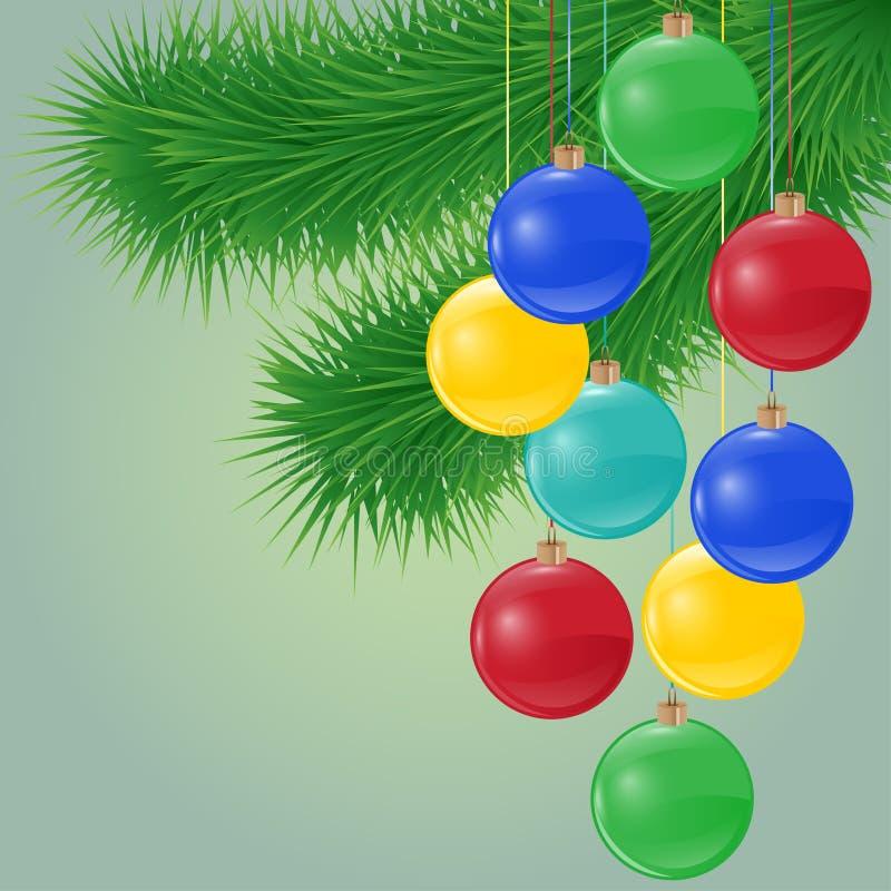 Διανυσματικό υπόβαθρο με τον κομψό κλάδο και τις φωτεινές σφαίρες Χριστουγέννων διανυσματική απεικόνιση
