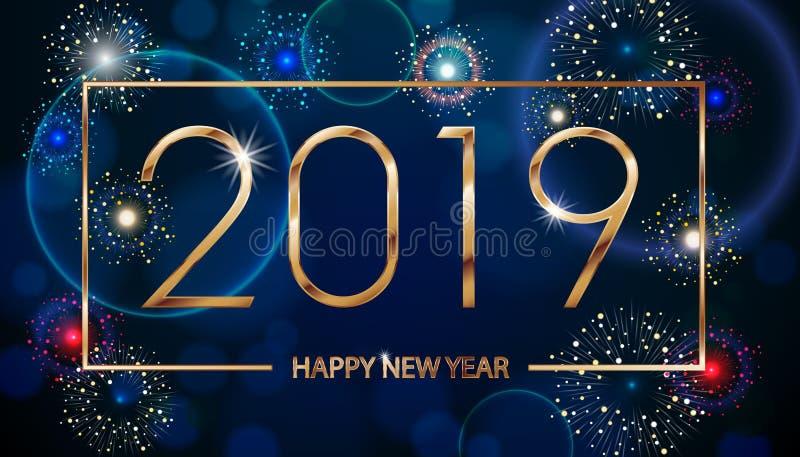 Διανυσματικό υπόβαθρο πυροτεχνημάτων διακοπών Καλή χρονιά 2019 Χαιρετισμοί εποχών, ζωηρόχρωμο σχέδιο κειμένων πυροτεχνημάτων διάν διανυσματική απεικόνιση