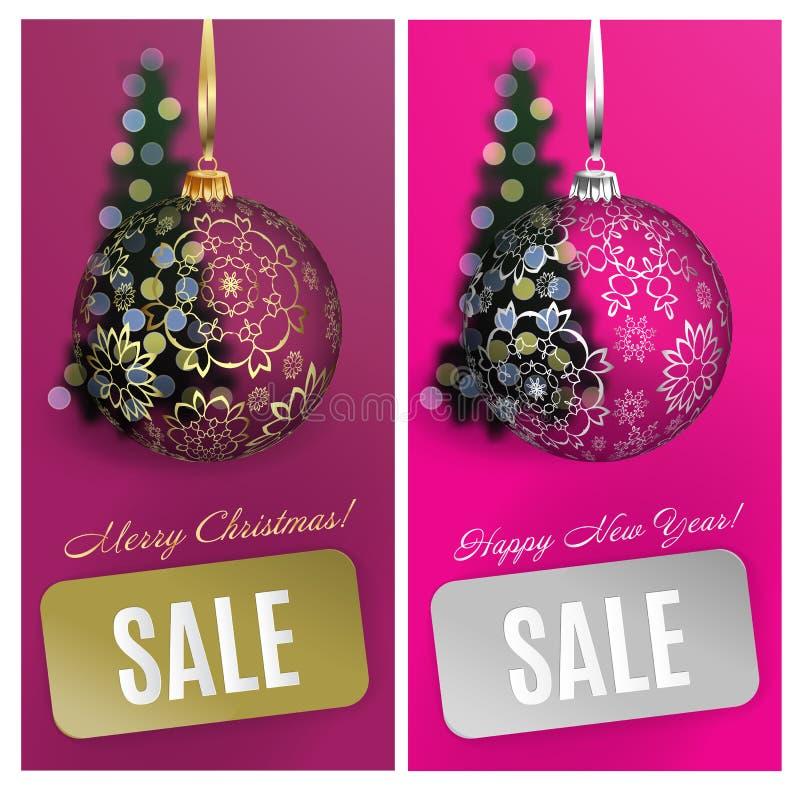 Διανυσματικό υπόβαθρο πώλησης καρτών Χριστουγέννων καθορισμένο με τη σφαίρα, λωρίδα, θολωμένο δέντρο EPS10 στοκ φωτογραφία με δικαίωμα ελεύθερης χρήσης