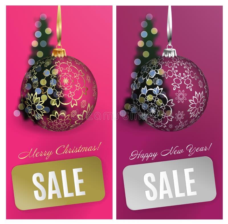 Διανυσματικό υπόβαθρο πώλησης καρτών Χριστουγέννων καθορισμένο με τη σφαίρα, λωρίδα, θολωμένο δέντρο EPS10 στοκ εικόνες
