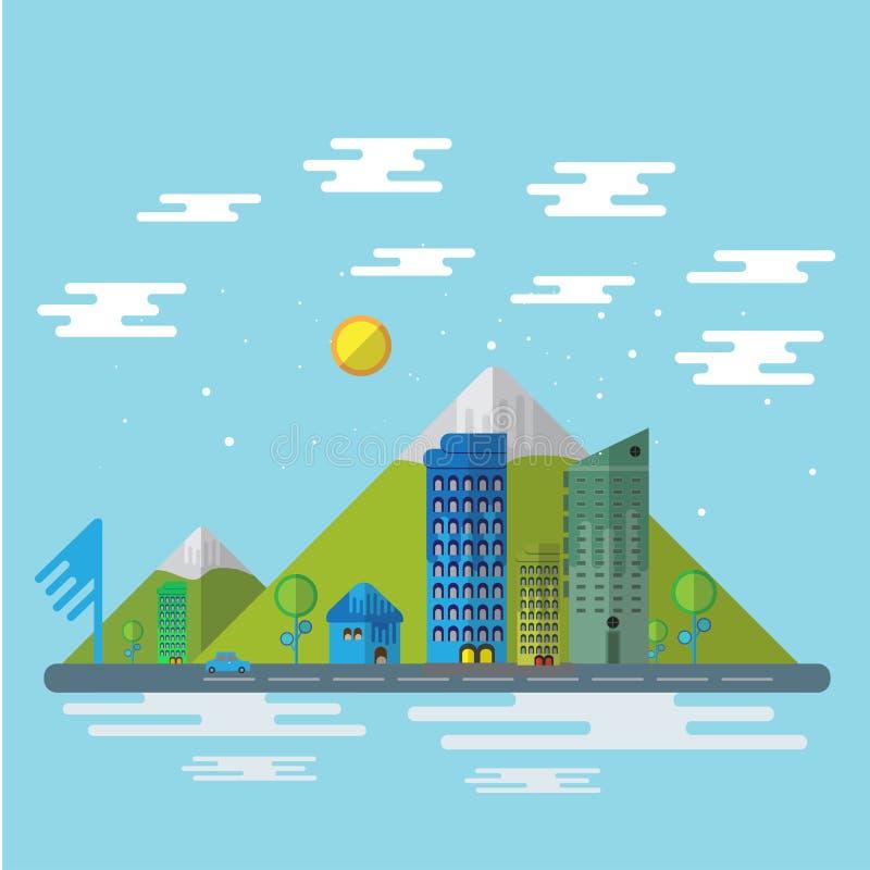 Διανυσματικό υπόβαθρο σχεδίου πόλεων και φύσης επίπεδο ελεύθερη απεικόνιση δικαιώματος