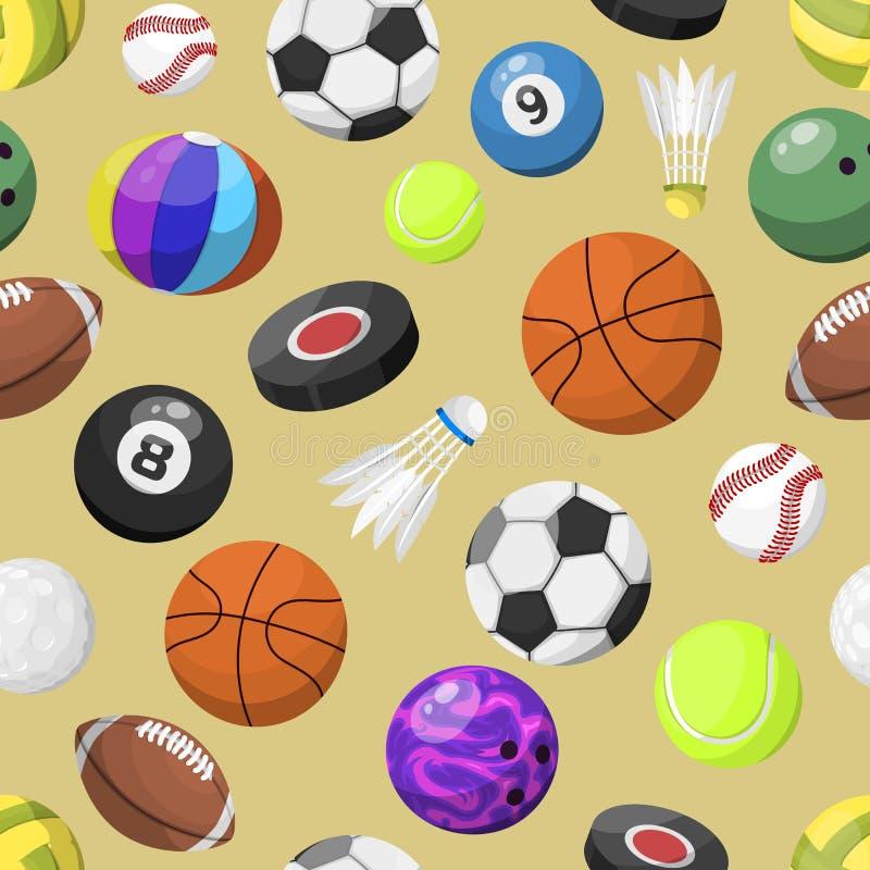 Διανυσματικό υπόβαθρο σχεδίων αθλητικών σφαιρών άνευ ραφής απεικόνιση αποθεμάτων