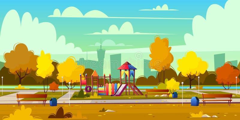 Διανυσματικό υπόβαθρο της παιδικής χαράς στο πάρκο, φθινόπωρο διανυσματική απεικόνιση