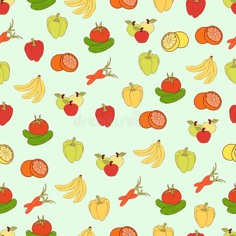 Διανυσματικό υπόβαθρο τροφίμων, άνευ ραφής σχέδιο φρούτων και λαχανικών Συρμένα πολύχρωμα τρόφιμα κινούμενων σχεδίων, χορτοφάγος  διανυσματική απεικόνιση