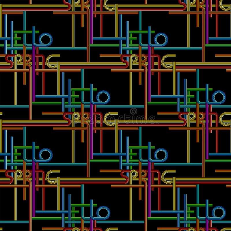 Διανυσματικό υπόβαθρο τυπογραφίας, άνοιξη φράσης γειά σου διανυσματική απεικόνιση