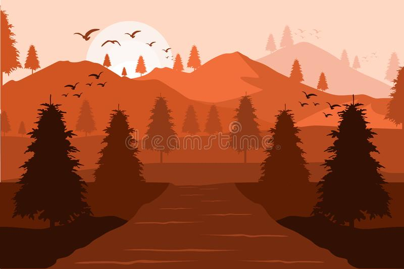Διανυσματικό υπόβαθρο των βουνών στο ηλιοβασίλεμα ελεύθερη απεικόνιση δικαιώματος
