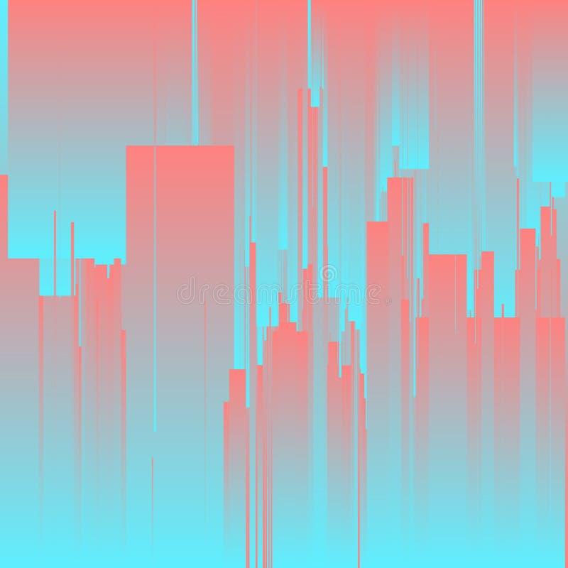Διανυσματικό υπόβαθρο δυσλειτουργίας Φουτουριστική πόλη, αφηρημένοι ουρανοξύστες Ψηφιακή διαστρέβλωση στοιχείων εικόνας απεικόνιση αποθεμάτων