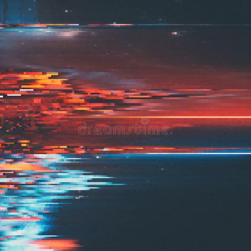 Διανυσματικό υπόβαθρο δυσλειτουργίας Ψηφιακή διαστρέβλωση στοιχείων εικόνας Ζωηρόχρωμο αφηρημένο υπόβαθρο για τα σχέδιά σας απεικόνιση αποθεμάτων