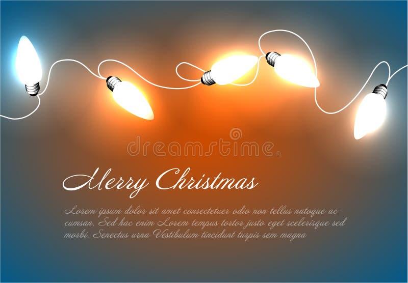 Διανυσματικό υπόβαθρο Χριστουγέννων με τα φω'τα αλυσίδων απεικόνιση αποθεμάτων