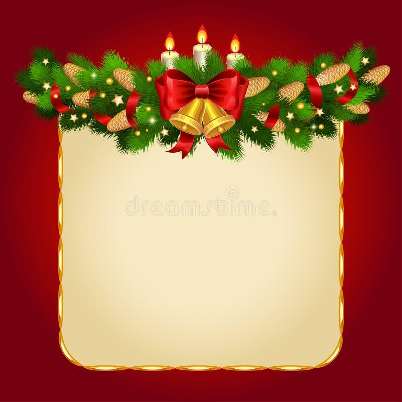 Διανυσματικό υπόβαθρο Χριστουγέννων με τους κλαδίσκους έλατου ελεύθερη απεικόνιση δικαιώματος
